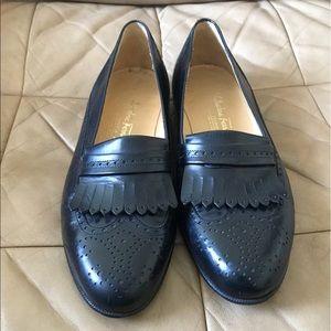 Black Salvatore Ferragamo Wingtip Dress Loafers